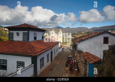View of rooftops and Our Lady of Merces de Baixo Church, Ouro Preto, Minas Gerais, Brazil - Stock Photo