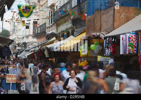 People walking along pedestrianised street of Saara district, Centro, Rio de Janeiro, Brazil, South America - Stock Photo