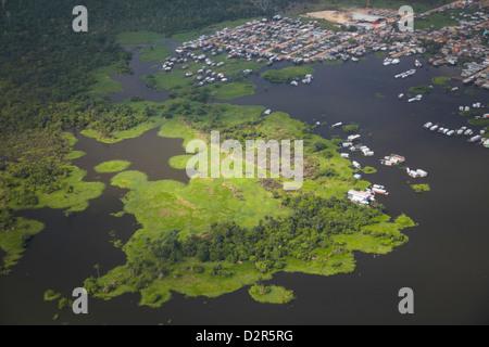 Aerial view of stilt houses along Rio Negro, Manaus, Amazonas, Brazil, South America - Stock Photo