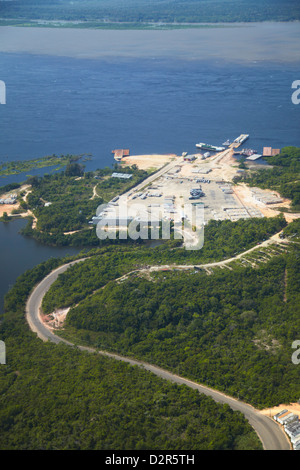 Aerial view of rainforest cleared for industry along the Rio Negro, Manaus, Amazonas, Brazil, South America - Stock Photo