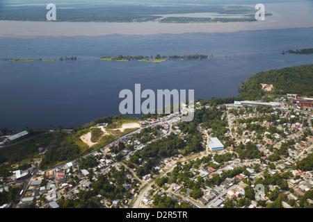 Aerial view of development along the Rio Negro, Manaus, Amazonas, Brazil, South America - Stock Photo