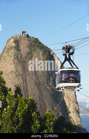 Cable car at Sugar Loaf Mountain (Pao de Acucar), Urca, Rio de Janeiro, Brazil, South America - Stock Photo