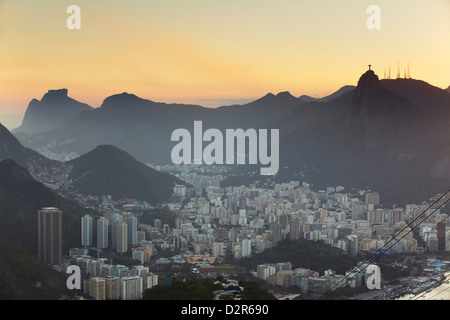 View of Christ the Redeemer statue atop Corcovado and Botafogo, Rio de Janeiro, Brazil, South America - Stock Photo