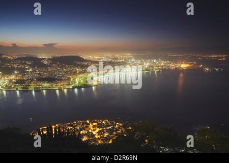 View of Urca, Flamengo and Centro at sunset, Rio de Janeiro, Brazil, South America - Stock Photo