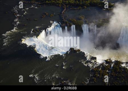 Aerial view of Iguacu Falls, Iguacu National Park, UNESCO World Heritage Site, Parana, Brazil, South America - Stock Photo