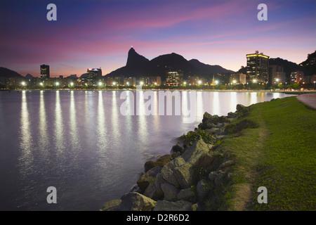 Botafogo Bay and Christ the Redeemer statue (Cristo Redentor), Rio de Janeiro, Brazil, South America - Stock Photo
