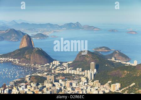 View of Sugar Loaf Mountain (Pao de Acucar) and Botafogo Bay, Rio de Janeiro, Brazil, South America - Stock Photo