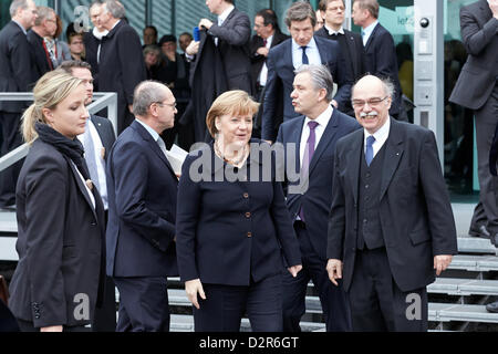 Berlin, Germany. 30th January 2013. German Chancellor Angela Merkel holds a speech at the opening of the exhibition - Stock Photo