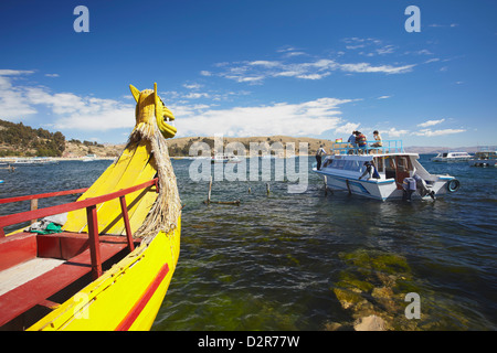 Tourist boat on Lake Titicaca, Copacabana, Bolivia, South America - Stock Photo