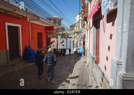 People walking along Witches' Market, La Paz, Bolivia, South America - Stock Photo