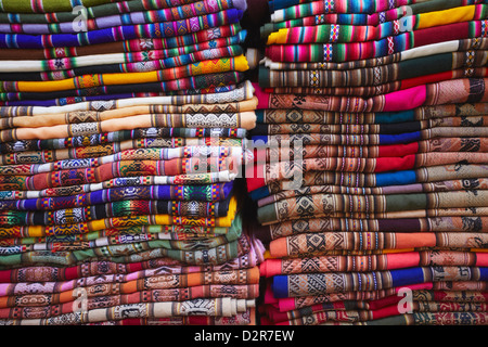 Colourful blankets in Witches' Market, La Paz, Bolivia, South America - Stock Photo