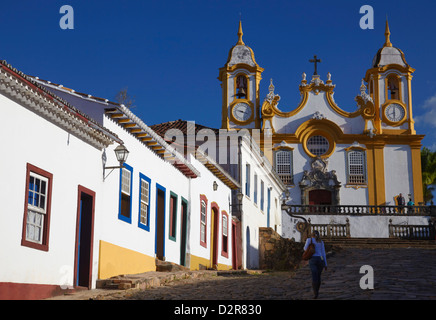 Colonial houses and Matriz de Santo Antonio Church, Tiradentes, Minas Gerais, Brazil, South America - Stock Photo