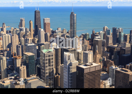 Chicago cityscape and Lake Michigan, Hancock Center and Trump Tower, Chicago, Illinois, United States of America, - Stock Photo