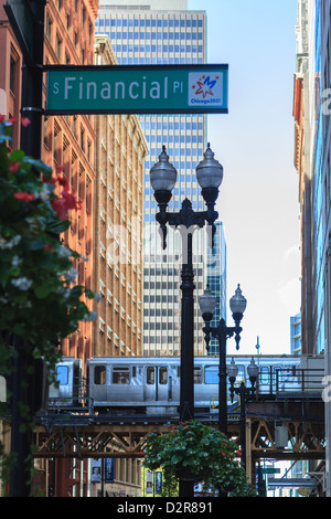 El train in The Loop, Downtown Chicago, Illinois, United States of America, North America - Stock Photo