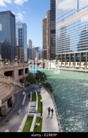 Glass towers along the Chicago River, Chicago, Illinois, United States of America, North America - Stock Photo