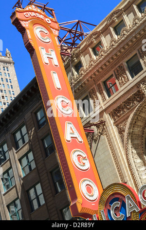 The Chicago Theater sign has become an iconic symbol of the city, Chicago, Illinois, United States of America, North - Stock Photo