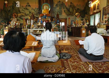 Ceremony in Tu An Buddhist temple, Saint-Pierre-en-Faucigny, Haute-Savoie, France, Europe - Stock Photo