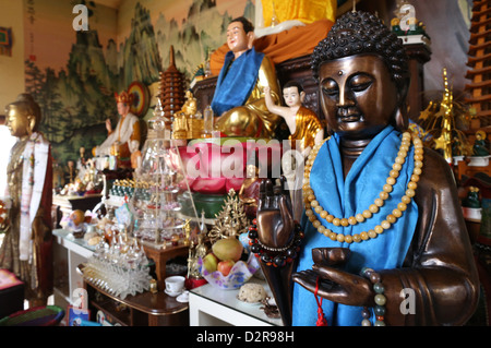 Buddha statue in Tu An Buddhist temple, Saint-Pierre-en-Faucigny, Haute-Savoie, France, Europe - Stock Photo