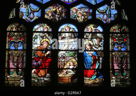 Stained glass window depicting the Nativity, St. Eustache church, Paris, France, Europe - Stock Photo