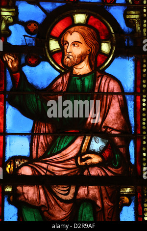 Stained glass window depicting Jesus, The Holy Chapel (La Sainte-Chapelle) Paris, France, Europe - Stock Photo