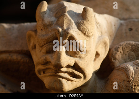 Sculpture on the Western facade, Notre Dame cathedral, Paris, France, Europe Stock Photo
