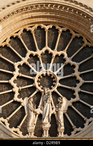 Rose window, Western facade, Notre Dame cathedral, Paris, France, Europe Stock Photo