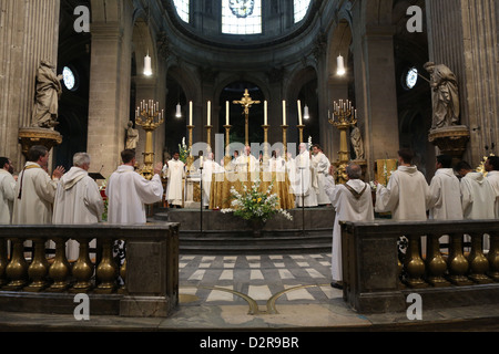 Eucharist at Saint Sulpice church, Paris, France, Europe - Stock Photo