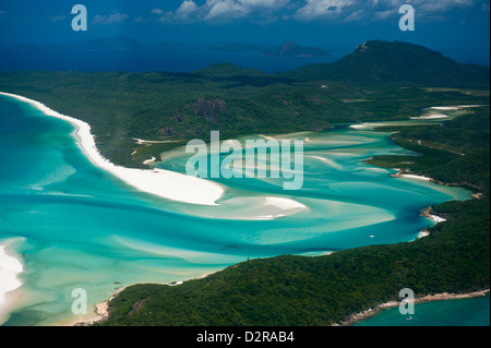 Aerial of Whitehaven in the Whit Sunday Islands, Queensland, Australia, Pacific - Stock Photo