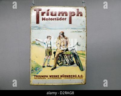 Germany Nuremberg Industry Museum nostalgic Triumph Motorcycle - Stock Photo