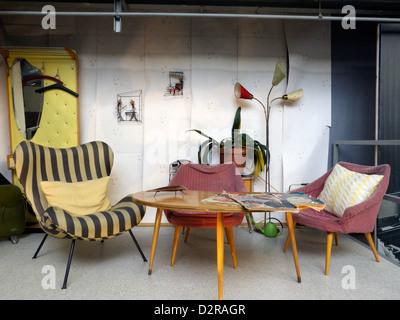 Germany Nuremberg Industry Museum nostalgic living room furniture - Stock Photo