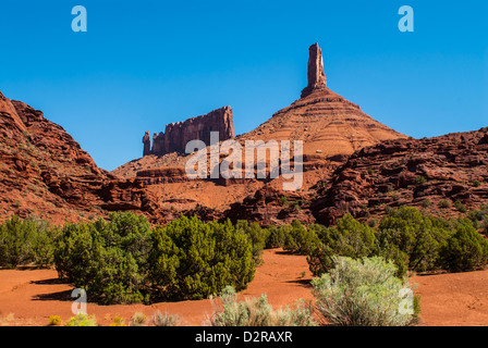 The Fisher Towers in Castle Valley, near Moab, Utah, United States of America, North America - Stock Photo