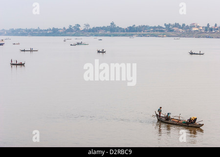Fishermen at sunrise, Tonle Sap River, Phnom Penh, Cambodia, Indochina, Southeast Asia, Asia - Stock Photo