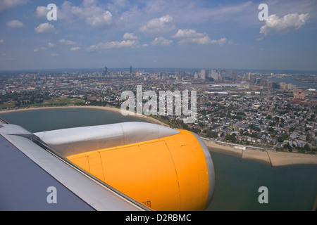 View from Icelandair passenger jet aircraft window over Boston, Massachusetts, New England, USA - Stock Photo