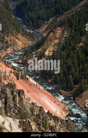 Grand Canyon of the Yellowstone River, from Inspiration Point, Yellowstone National Park, Wyoming, USA - Stock Photo