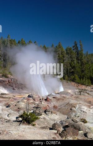 Minor eruption from Steamboat Geyser, Norris Geyser Basin, Yellowstone National Park, Wyoming, USA - Stock Photo