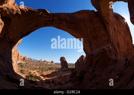 Double Arch, Arches National Park, Moab, Utah, United States of America, North America - Stock Photo
