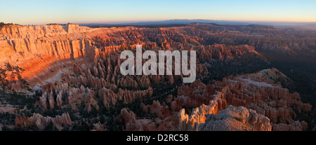 Panoramic photo of sunrise from Bryce Point, Bryce Canyon National Park, Utah, United States of America, North America - Stock Photo