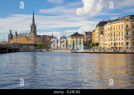 Riddarholmen with spire of Riddarholmskyrkan (Riddarholmen Church) on the skyline, Stockholm, Sweden, Europe - Stock Photo