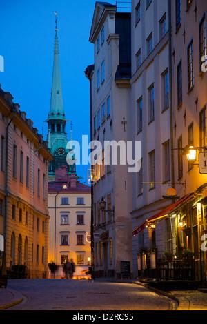 Stortorget Square cafes at dusk, Gamla Stan, Stockholm, Sweden, Europe - Stock Photo