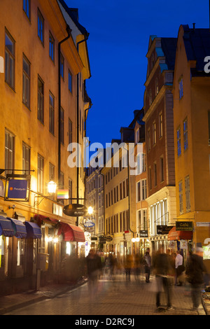 Busy street at dusk, Gamla Stan, Stockholm, Sweden, Europe - Stock Photo
