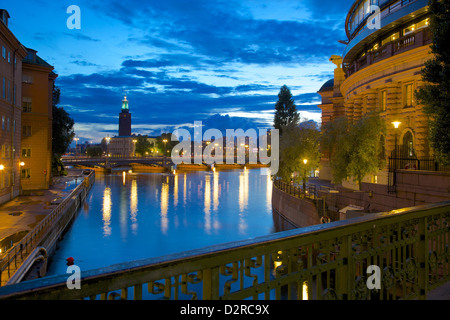 The City Hall at night, Kungsholmen, Stockholm, Sweden, Europe - Stock Photo