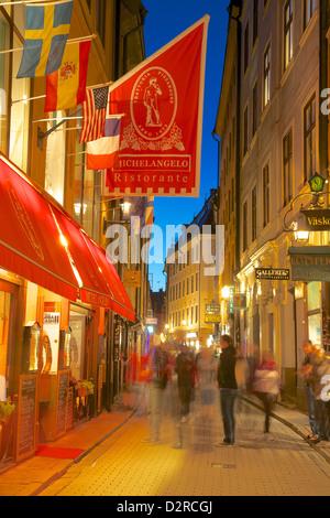 Street scene at night, Gamla Stan, Stockholm, Sweden, Europe - Stock Photo