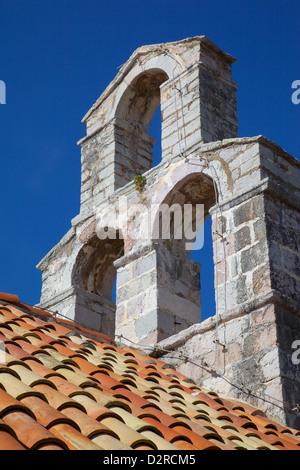 Church bell tower, Old Town, Budva, Montenegro, Europe - Stock Photo