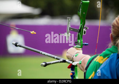 Olympics archery test event at Lords Cricket Ground London UK - Stock Photo