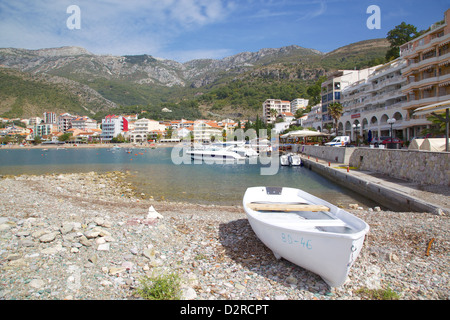 View of harbour and boats, Becici, Budva Bay, Montenegro, Europe - Stock Photo
