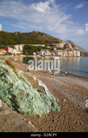View of beach, Becici, Budva Bay, Montenegro, Europe - Stock Photo