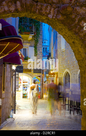 Old Town at night, Budva, Montenegro, Europe - Stock Photo