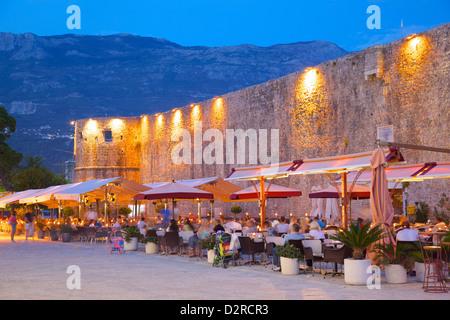 Old Town at night, Budva, Montenegro, Europe - Stock Photo