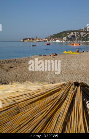 View of Budva Old Town and Beach, Budva Bay, Montenegro, Europe - Stock Photo
