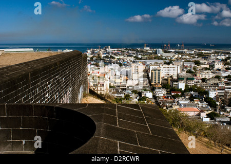 fort adelaide and city view, port louis, mauritius - Stock Photo